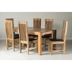 Mango Natural & Leather 6-Seater Dining Set
