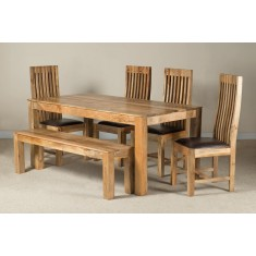 Mango Natural & Leather 6-Seater Dining Set With Bench