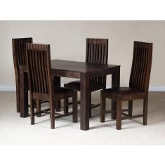 Mango Walnut 4-Seater Dining Set (Leather Seat)