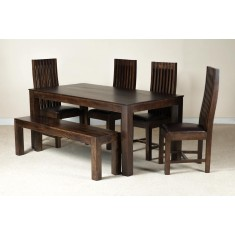 Mango Walnut & Leather 6-Seater Dining Set With Bench