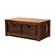 Dakota Mango Large Coffee Table With Baskets (Dark)
