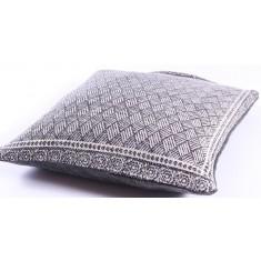 Grey Lattice Cotton Cushion 50x50cm