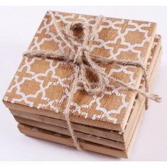 Rustic Wooden Coasters Set of 4