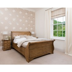 Florence Mango and Stone Double Sleigh Bedstead