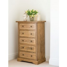 Florence Mango and Stone Tall 5 Drawer Chest