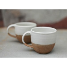 Mali Ceramic White & Terracotta Coffee Mug