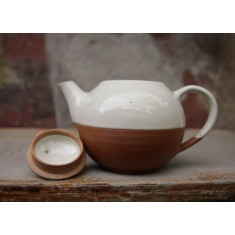 Mali Ceramic White & Terracotta Tea Pot