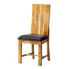 Indus Acacia & Leather Dining Chair - Pair
