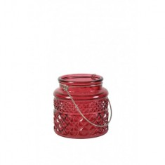 Red Cut Glass Candle Holder - Small