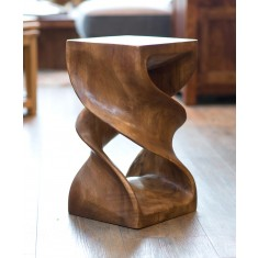 Large Double Solid Twist Stool - Waxed